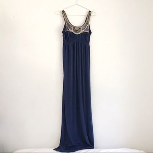 NWOT Bailey Blue Maxi Dress with Sequins and Beads